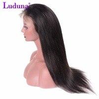 Luduna פאות שיער אנושי תחרה מול לנשים שחורות 8-24 Inch אי רמי פרואני ישר שיער תחרה עם תינוק שיער שיער