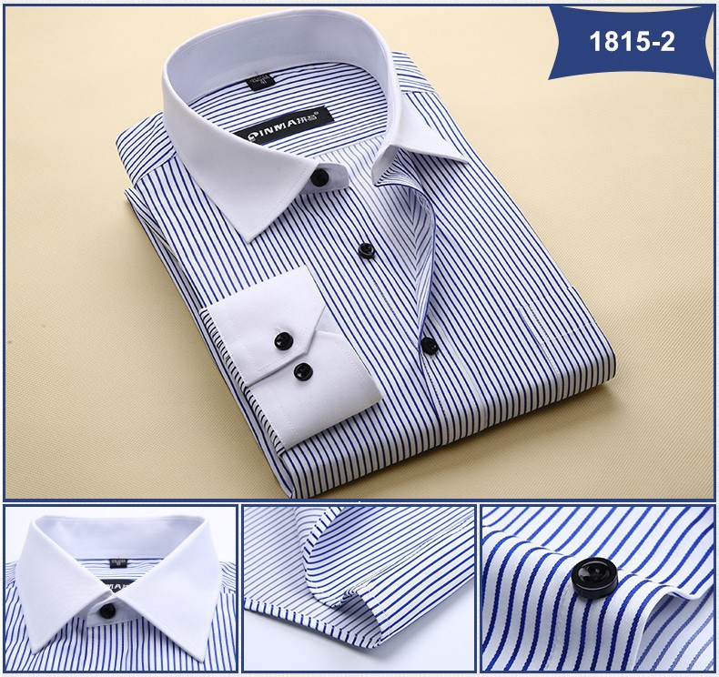 Брендовые мужские рубашки в полоску с отложным воротником, Повседневная Деловая официальная рубашка, Высококачественная Мужская рубашка с длинным рукавом