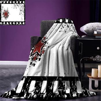 Movie Theater Throw Grungy Illustration of Film Strip with Ornamental Stars Cinematography Warm Microfiber Blanket image