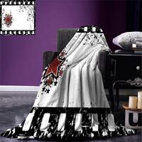 Movie Theater Throw Grungy Illustration of Film Strip with Ornamental Stars Cinematography Warm Microfiber Blanket