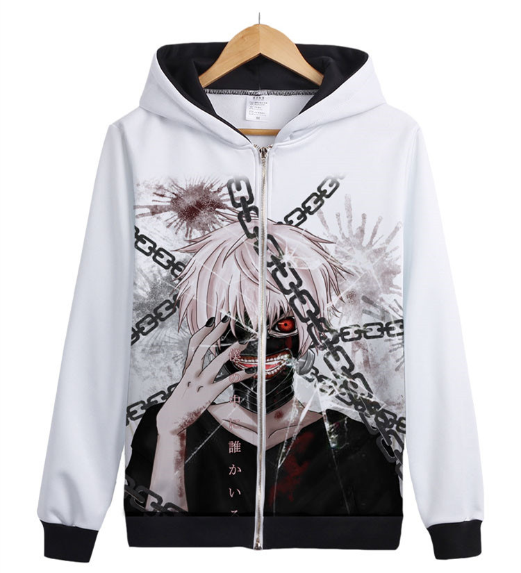 Anime Tokyo Ghoul Kaneki Kirishima Ayato Printed Zppier Hoodies & Sweatshirts Spring and Antumn Fleece Coat For Men/Women White