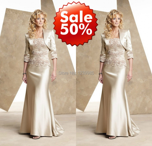 2016 women dress Satin Mother of the Bride dresses outfit chiffon tea length mother of the bride dresses