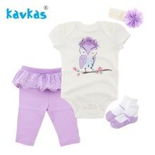 Kavkas Baby Girl Boy Cotton Sleepwear Robe Outfits Newborn Gown Pajamas Set Top Socks Pants Headbands 4pcs Baby Robes