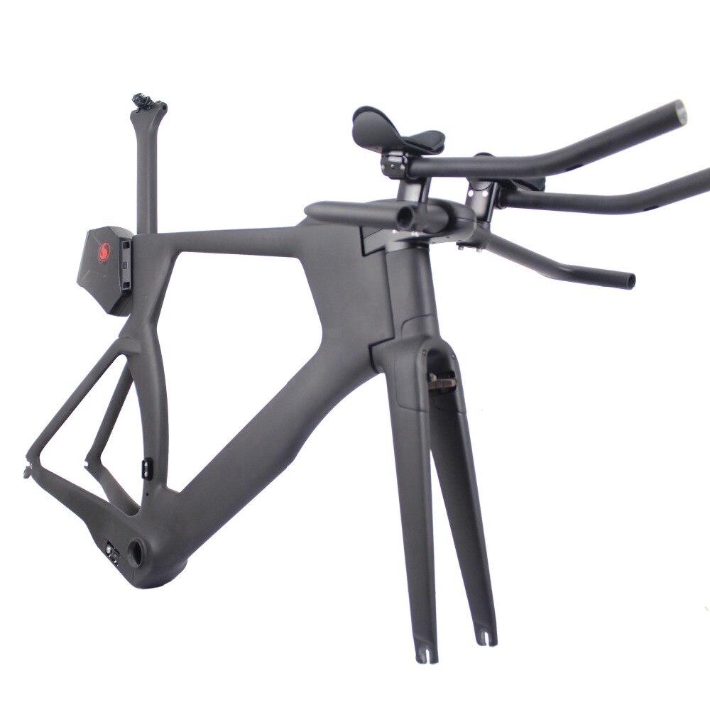 ICAN carbon Time Trail TT012 Frame/Fork/Seatpost/Headset/Handlebar/brake caliper/ Stem/tool box BB386 UD matte