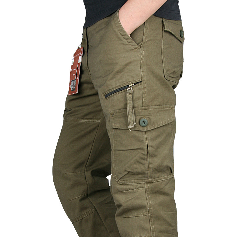 Men's Overalls Army Cargo Pants Straight Multi-pockets Baggy Long Trousers Casual Streetwer Tactical Pants Men Pantalon Homme