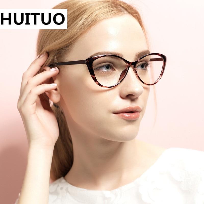 HUITUO N TR90 Goggles Brillen Vrouwelijke Grade Clear Bril Retro Computer Brilmonturen voor Vrouwen Cat Eye Optische Eyewear