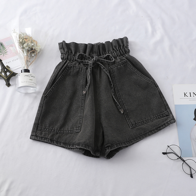 Ruffled Frilly Bow Design High Waisted Shorts Jeans Short Trousers Ladies Mini Shorts Big Slant Pocket Casual Denim Shorts Women