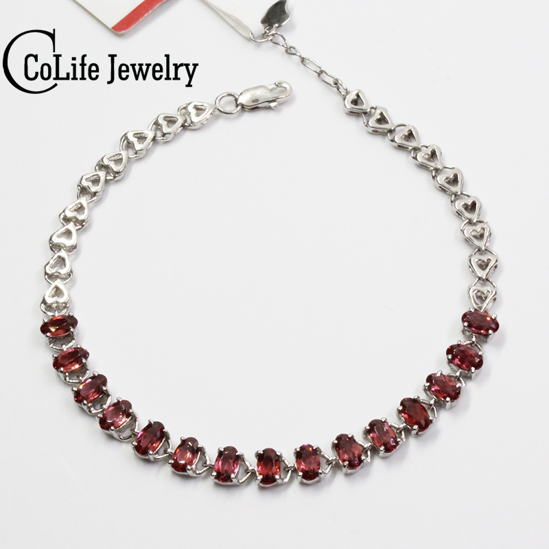 Romantic garnet silver bracelet 15 pcs 3 mm * 5 mm natural wine red garnet bracelet solid 925 sterling silver gemstone bracelet 4 6mm natural garnet wrap bracelet silver red wine charms bracelet round beads bracelets for women