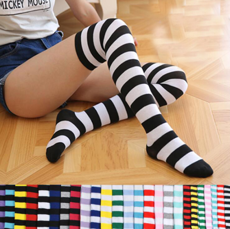 NEW WOMENS LADIES OVER KNEE THIGH HIGH STOCKING SOCKS RAINBOW STRIPED FLORESCENT