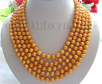 FREE SHIPPING NEWS 100 Longest Genuine Natural 9mm Golden Pearl Necklace! NEW HOT sell