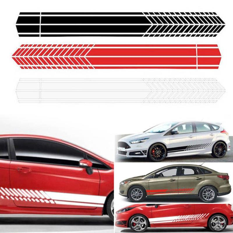 2pcs Universal Sports Waterproof Racing Stripe Graphic Stickers Auto Car Body Side Door Vinyl Decals Car Styling Accessories