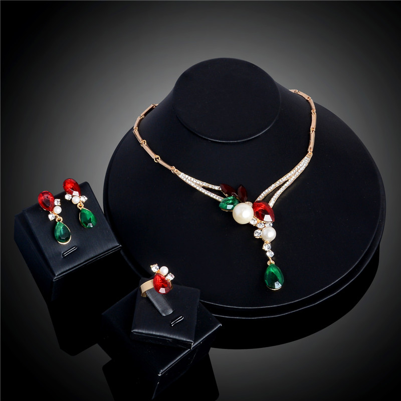QCOOLJLY Jewelry-Set Necklace Earrings Party-Costume Beads-Collar Crystal Women Latest