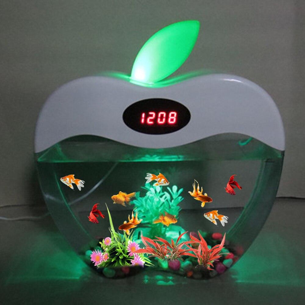 Aquarium USB Mini Aquarium avec LED veilleuse écran LCD et horloge Aquarium personnaliser D20 - 6