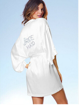 "6 Colors Silk Robe Short Satin Silk Wedding Bride Bridesmaid Robes White Bridal Dressing Gown ""BRIDE"" Or DIY Graphic on Back"