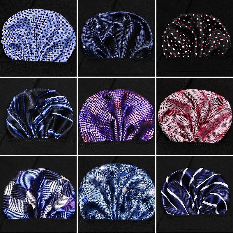 Joy Alice Jacquard Silk Handkerchief Floral Printed Solid Pocket Square Wedding 23cm*23cm Hankies For Men Brand Pocket Towel