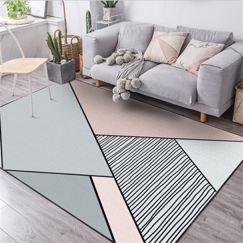 Northern European And American Geometric Simple Gray Pink Carpet Carpets For Living Room Bedroom Rugs Carpet Kids Room