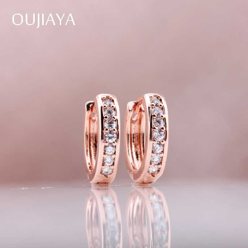 OUJIAYA simple Classic 585 Rose Gold Women Wedding earrings Single Natural Zircon Round Dangle Earrings gift Party Jewelry A31