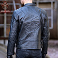 2017 New Men Skull Leather Motorcycle Jacket Black Stand Collar Oblique Zipper Genuine Cowhide Slim Fit  Men Winter Biker Coat