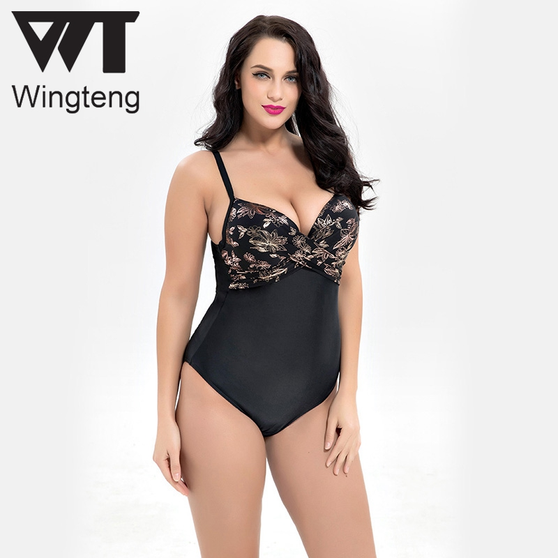 Wingteng One Piece Swimwear Female plus size 6XL push up monokini Bikini Set Large Cup Bathing Suit Swimsuit Fused Swim Wear