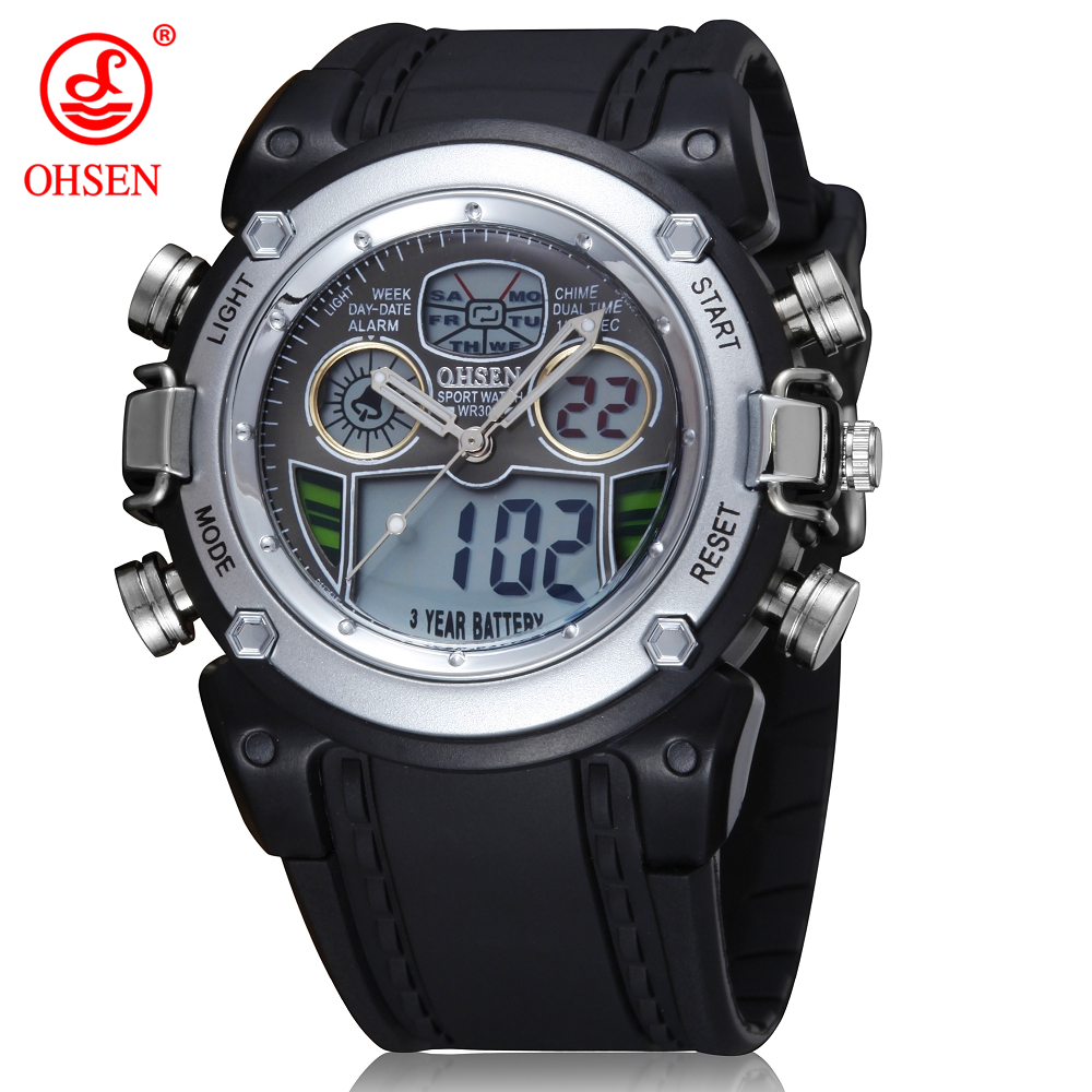 391ae2fe060 2018 OHSEN Waterproof Diver Military Wristwatch Men Dual Time Sport Watch  Alarm Date Week Chronograph Relogio Feminino Masculino