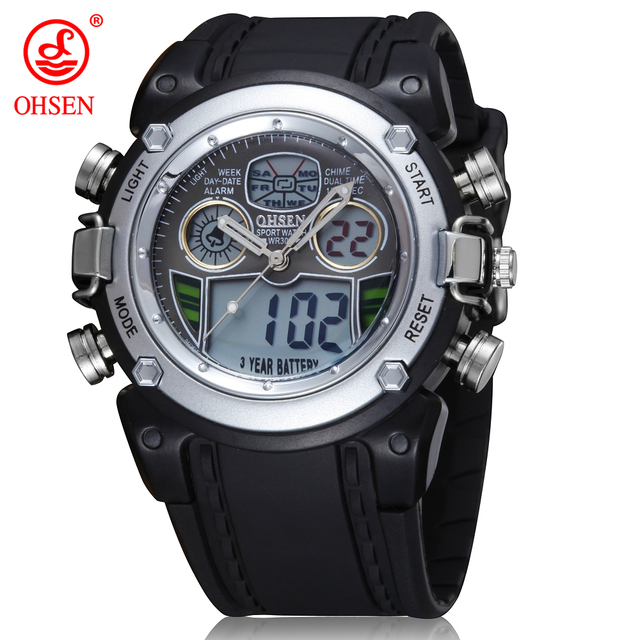 83e2a734dbf 2018 OHSEN Waterproof Diver Military Wristwatch Men Dual Time Sport Watch  Alarm Date Week Chronograph Relogio Feminino Masculino