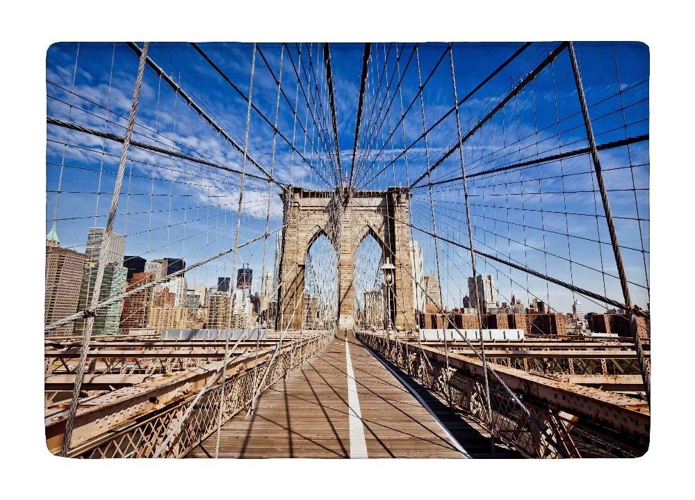 Floor Mat New York City Brooklyn Bridge in Manhattan Closeup Print Non-slip Rugs Carpets For Indoor Outdoor Living Room