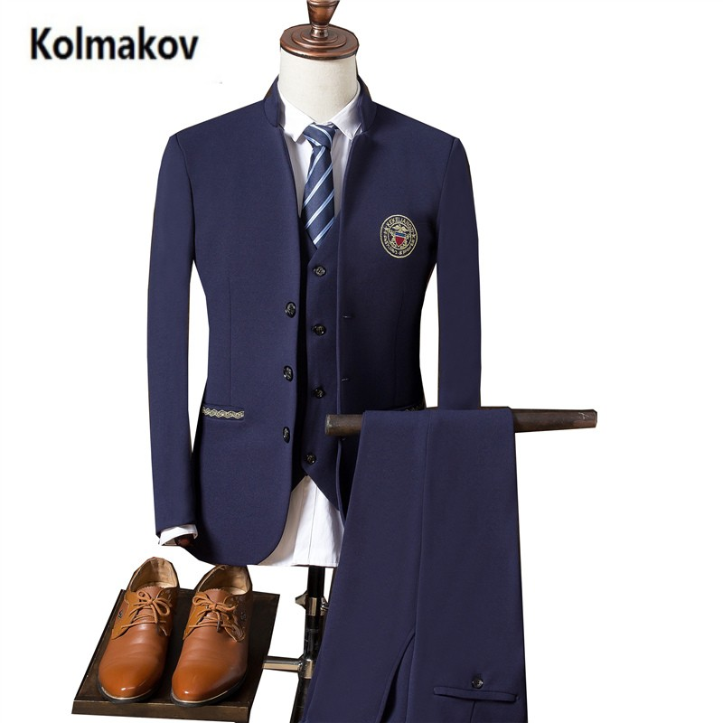 KOLMAKOV 2017 new arrival high quality Single breasted embroidry suits men ,men's Chinese style wedding dress suit . M 3XL.