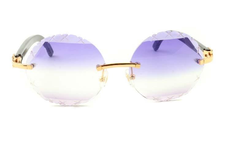 purple and light purple round Cut lenses black buffalo horn sunglasses 3524012(C), gold (2)