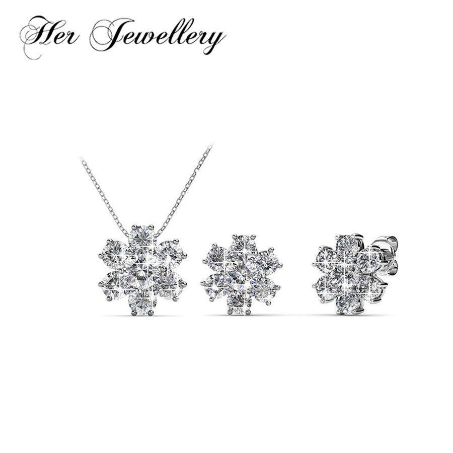 Ses bijoux flocon de neige mode fleur boucles d'oreilles et collier en cristaux de Swarovski HS038