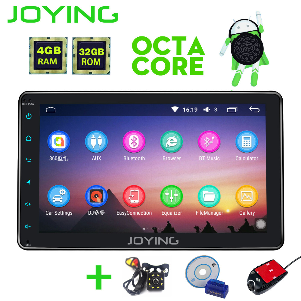 Joying 2 din Android 8.0 Car Radio GPS 4GB+32GB 8'' For Toyota Corolla Camry/Prius/RAV4/Hilux with Rear View Camera DVR OBD2 HU наклейки digiface toyota camry highlander prius hilux rav4