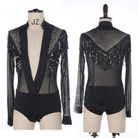 Shiny Rhinestone Latin Dance Top V neck Men Dance Shirts Ballroom Latin Dancing Clothes Male Professional Competition Dancewear