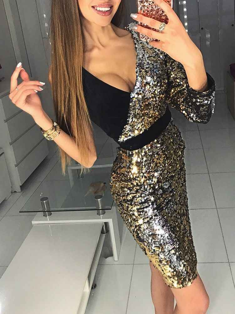 2019 new arrival Women Long Sleeve one shoulder Bodycon sexy sequins Party Evening Mini Club Dress deep v-neck short dresses