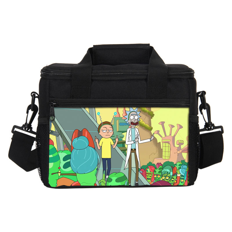 VEEVANV Rick And Morty Prints Lunch Bag For Men Women Ice Bag Fashion Cartoon Insulated Thermal Picnic Small Lunch box Kids GIFT