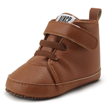 Delebao Pu Leather Hook & Loop Baby Shoes Cotton Sole Infran