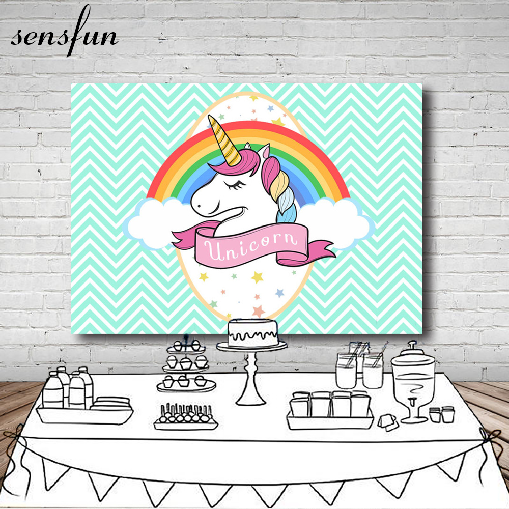 Mint White Wave Striped Rainbow Unicorn Backdrop For Birthday Party Newborn Baby Shower Backgrounds Photocall Vinyl 7x5FT 7x5ft vinyl cloth cartoon photocall my