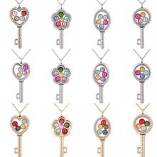 цена на Oval Round Flower Glass Key Pendant Necklace Rhinestone Locket Pearl Cage Pendant Steel Chain Necklace