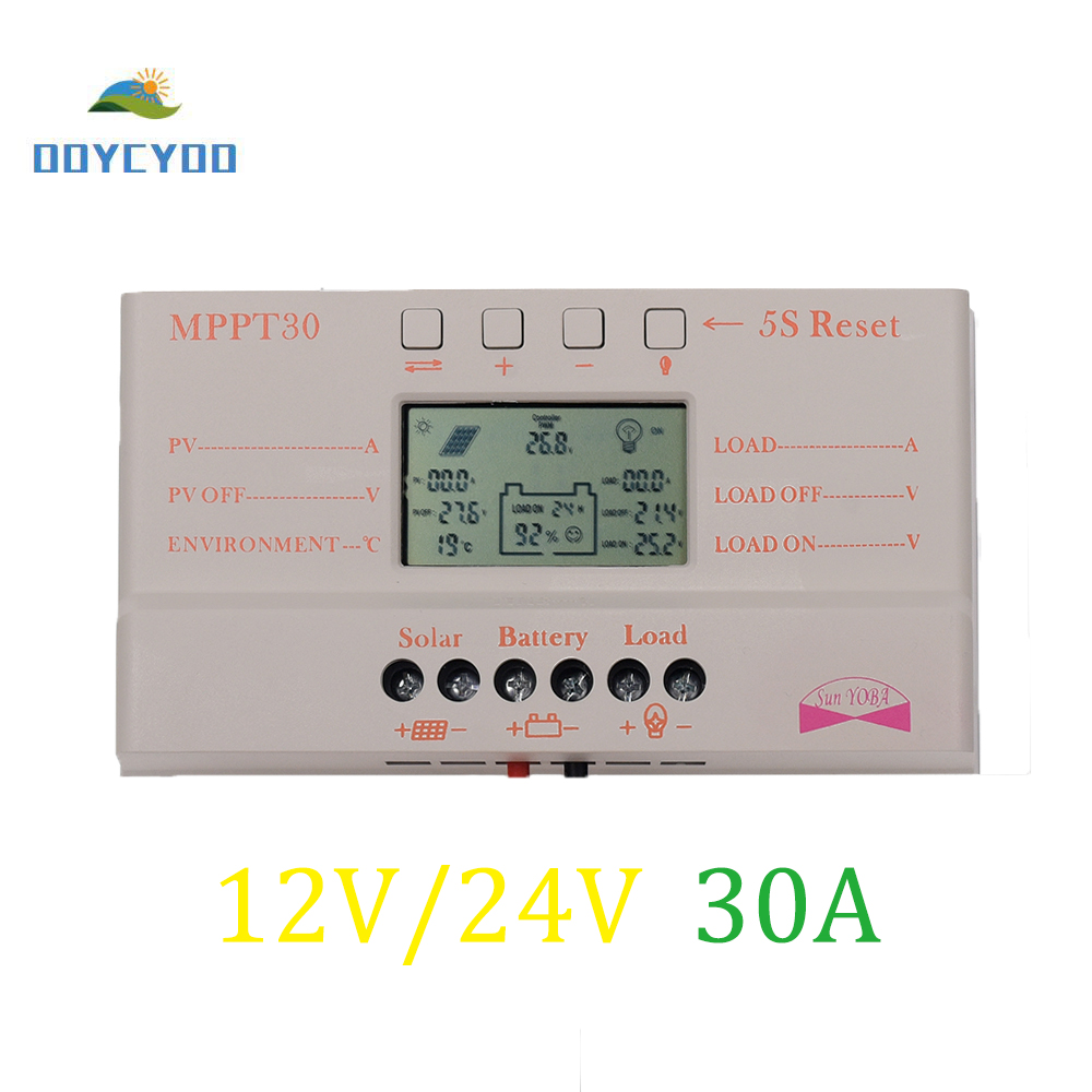 OOYCYOO MPPT 30A LCD solar charge controller 12 V 24 V auto switch LCD screen OOYCYOO MPPT 30A LCD solar charge controller 12 V 24 V auto switch LCD screen