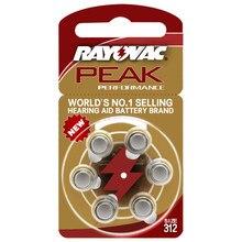 Rayovac peak pilhas auditivas 6 peças, a312 312a za312 312 pr41 s312, para aparelhos auditivos