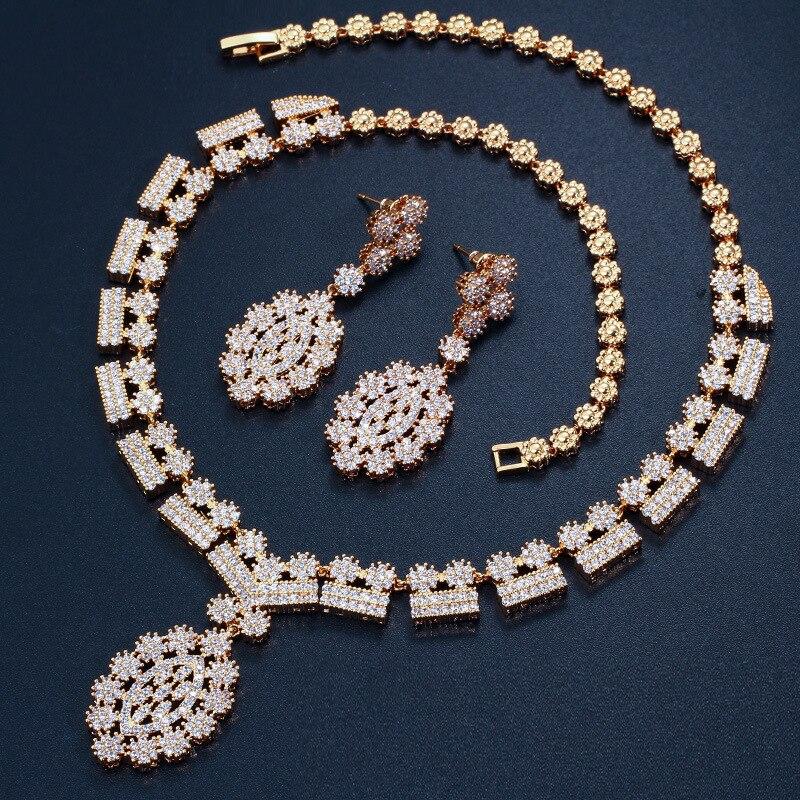 4 Options de Style blanc cristal Zircon or Rose boucles d'oreilles ensemble de bijoux boucle d'oreille collier pendentif M02-T2 - 2