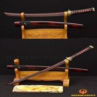 JANPANESE SAMURAI WAKIZASHI DRAGON BEAUTIFUL SWORD DAMASCUS FOLDED STEEL BLACK&RED SHARP BLADE GENUINE LEATHER HANDLES TSUKA ITO