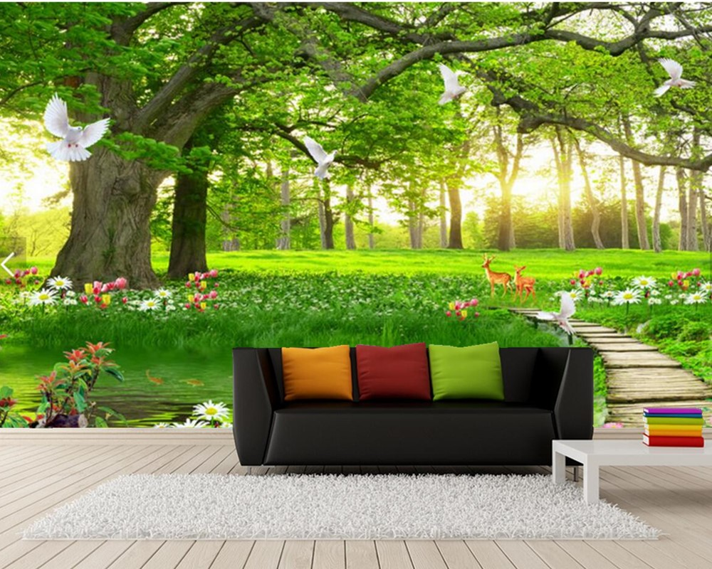 forest scenery living wall aesthetic 3d bedroom tree sofa tv simplicity custom mural zoom parede papel