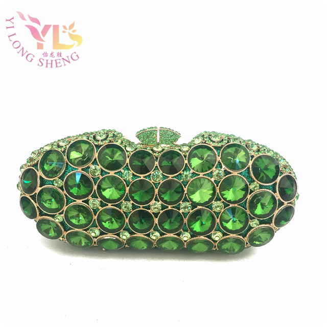 Evening Clutch Bags Green Fancy Crystal Purse Special Occasion Handbags Crossbody Day Clutches Yls