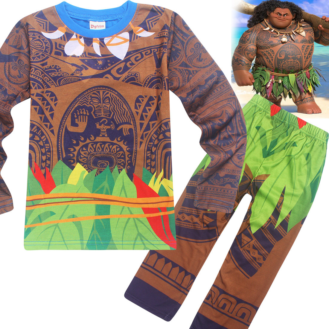 Maui Boys Sleepwear Moana vaiana Costume Girls Pajamas christmas Pyjama Kids Boys Pijamas Long Sleeve T-shirt+Print Clothing Set 2015 new arrive super league christmas outfit pajamas for boys kids children suit st 004