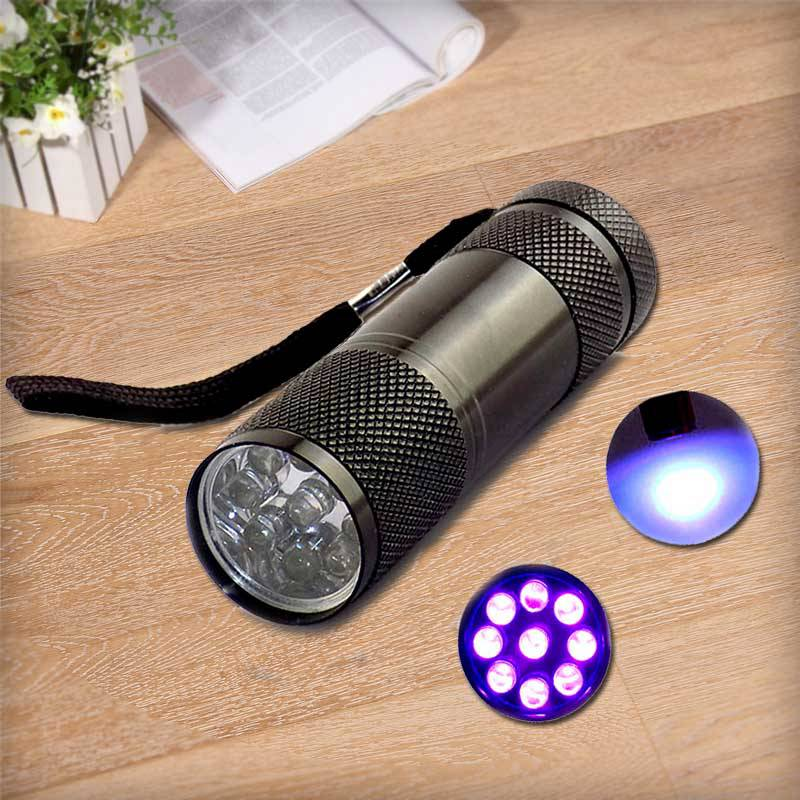 Ultra Violet 9 led UV Flashlight Protable UV purple linternas flash Torch Light Lamp mini ultraviolet For Money Checking