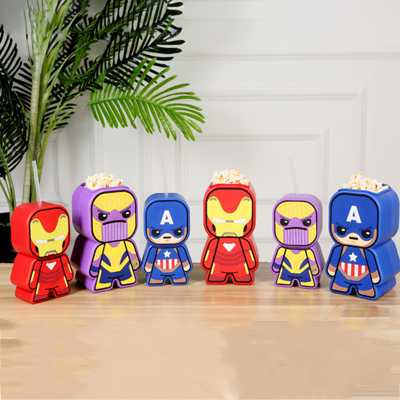 Movie Genuine Avengers 4 Popcorn bucket Multi-function Styling Action figure Iron Man Sipper Captain America Thanos Coke CupMovie Genuine Avengers 4 Popcorn bucket Multi-function Styling Action figure Iron Man Sipper Captain America Thanos Coke Cup