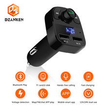 Car FM Modulator Bluetooth Handsfree Transmitter Mp3 Player with Dual USB 3.1A Fast Car-Charger for 12V-24V