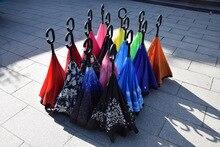 50PCS Inverted Umbrella Sun Rain Long-Handle Umbrella Reverse Windproof Umbrellas C Handle Enlarge Reinforcement Paraguas