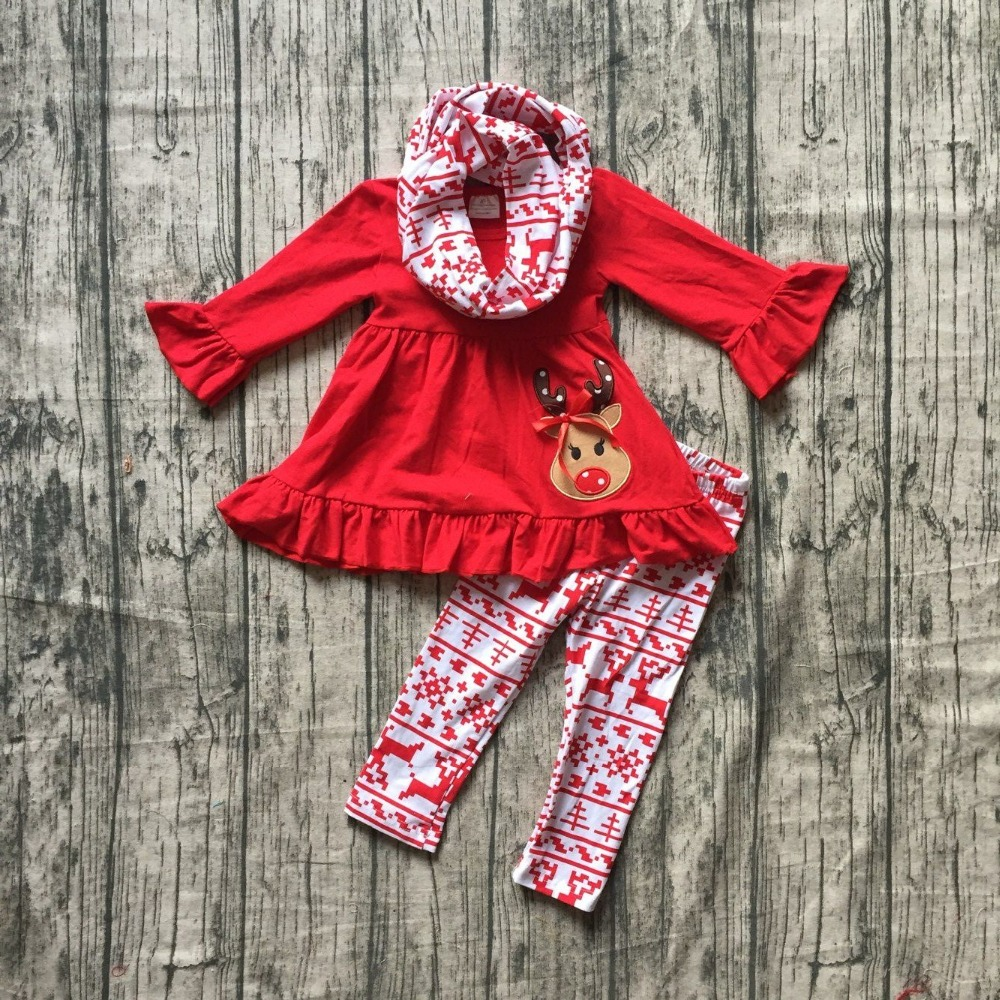 Christmas baby fall/winter girls 3 pieces scarf boutique reindeer red Aztec pant children cotton clothes ruffles top outfits kid xmas white tank top 6th sparkle red birthday number print red snowflakes ruffles