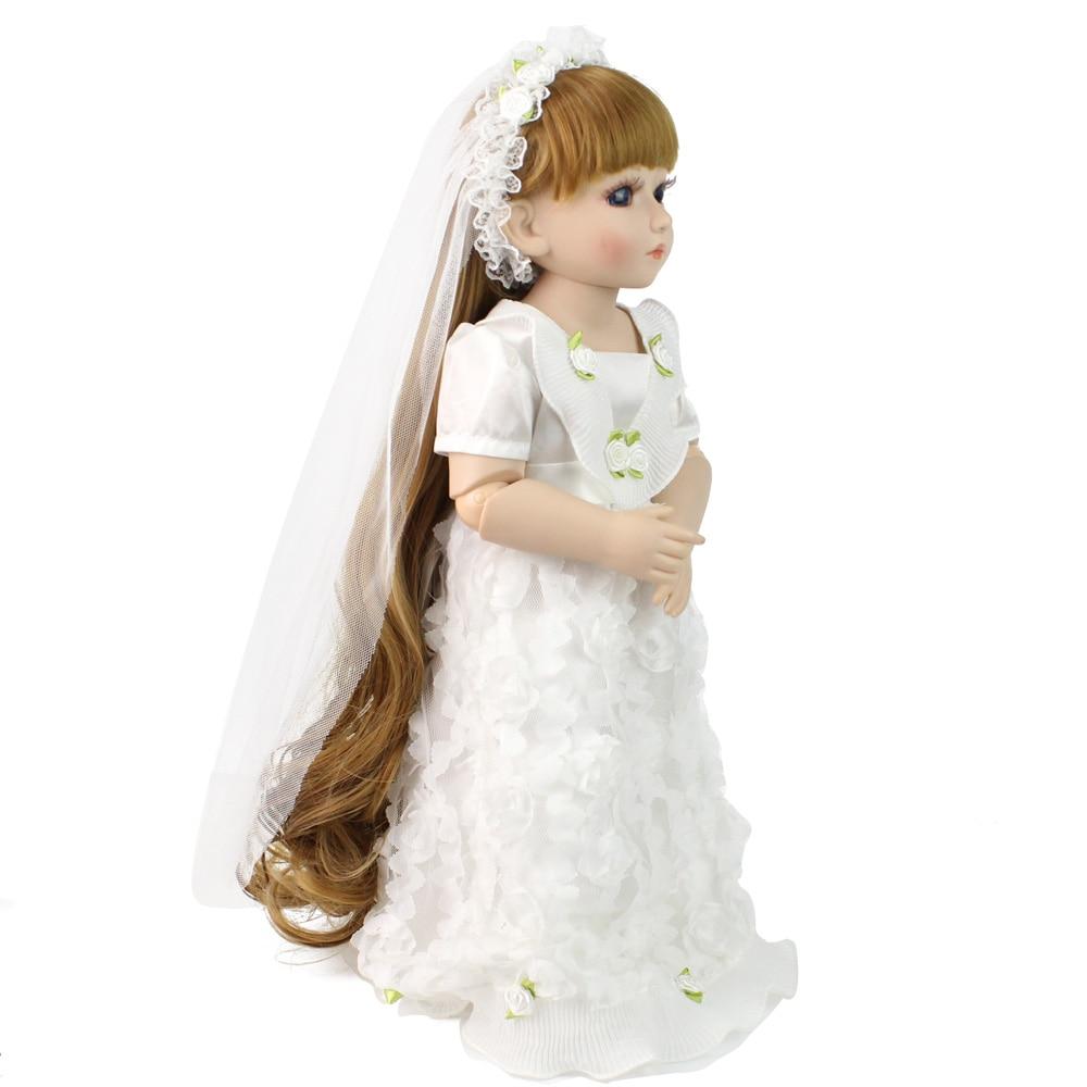 Bjd Doll Fashion Marry Wedding Bride Doll Long Hair White Clothes ...