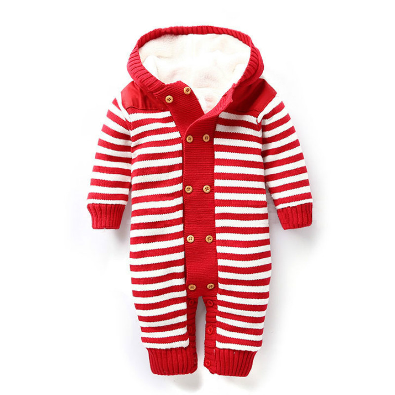 Dollplus Winter Warm Thick Baby Boys Girls Jumpsuit Infant stripe  Knitted Sweater Rompers Hooded Outwear Climbing Clothes christmas deer baby rompers duck down winter overalls thick warm jumpsuit 2017 newborn clothes infant boys girls outwear